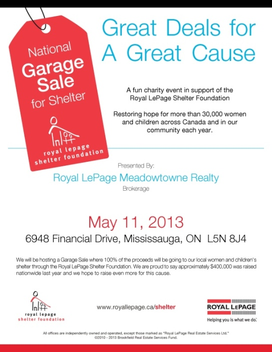 SATURDAY - MAY 11TH! Save the date for our Annual Charity Garage Sale - 100% of proceeds go to Local Women and Children's Shelter